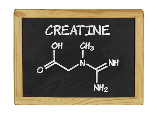 creatine molecule on blackboard