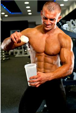 Guy Making protein shake