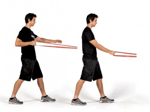 one arm row with resistance bands