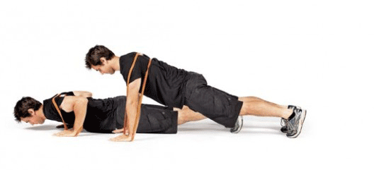resisted push-up with resistance bands
