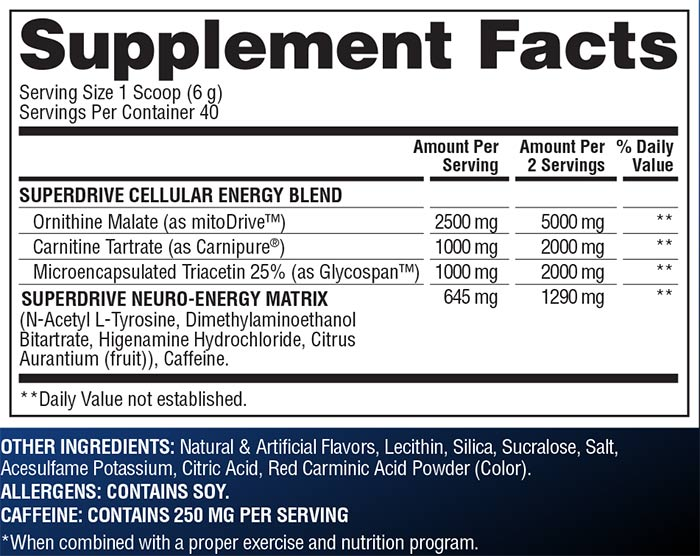 Gaspari SuperDrive Suppelment Facts