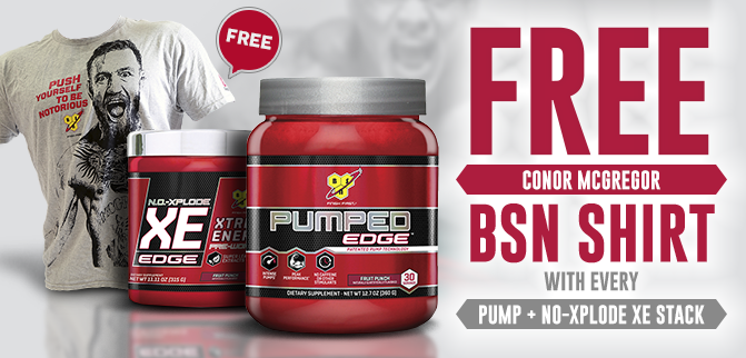 BSN NO-Xplode XE + Pumped Edge - FREE Shirt!