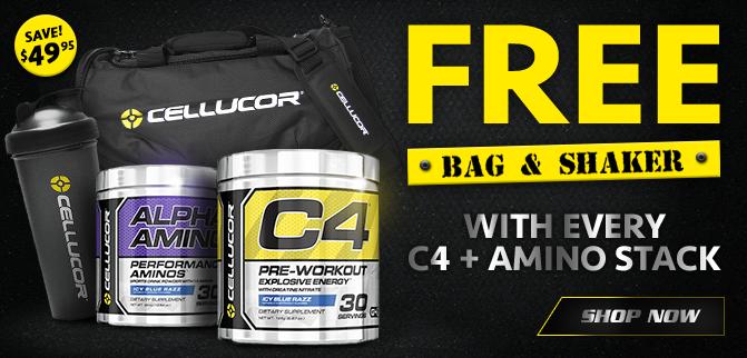 Cellucor C4 + Amino Stack - FREE Duffle Bag & Shaker!