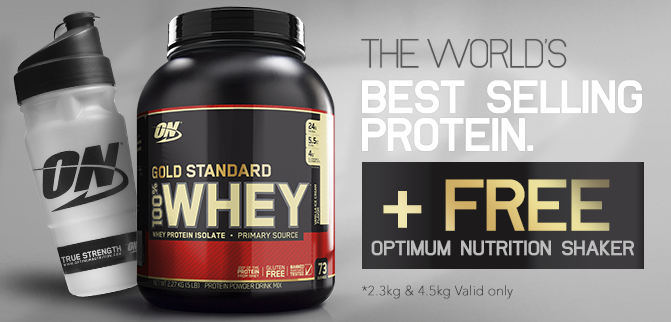 Optimum Nutrition 100% Whey - FREE ON Shaker!